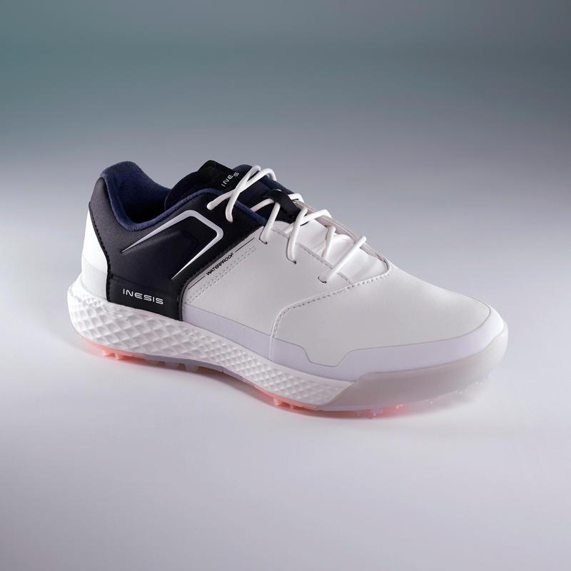 Ladies Grip Waterproof Golf Shoes White And Navy Inesis Golf