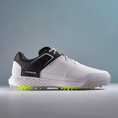 MEN'S WATERPROOF GRIP GOLF SHOES WHITE AND BLACK
