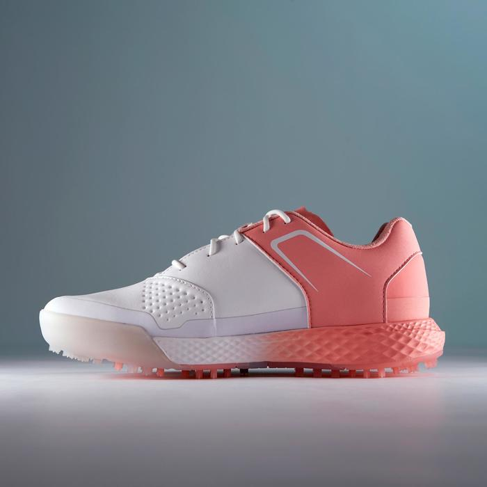 Golfschoenen dames Grip Waterproof wit en roze