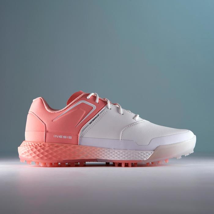 WOMEN'S WATERPROOF GRIP GOLF SHOES WHITE AND PINK