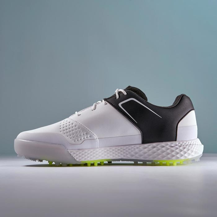 Golfschoenen heren Grip Waterproof wit en zwart