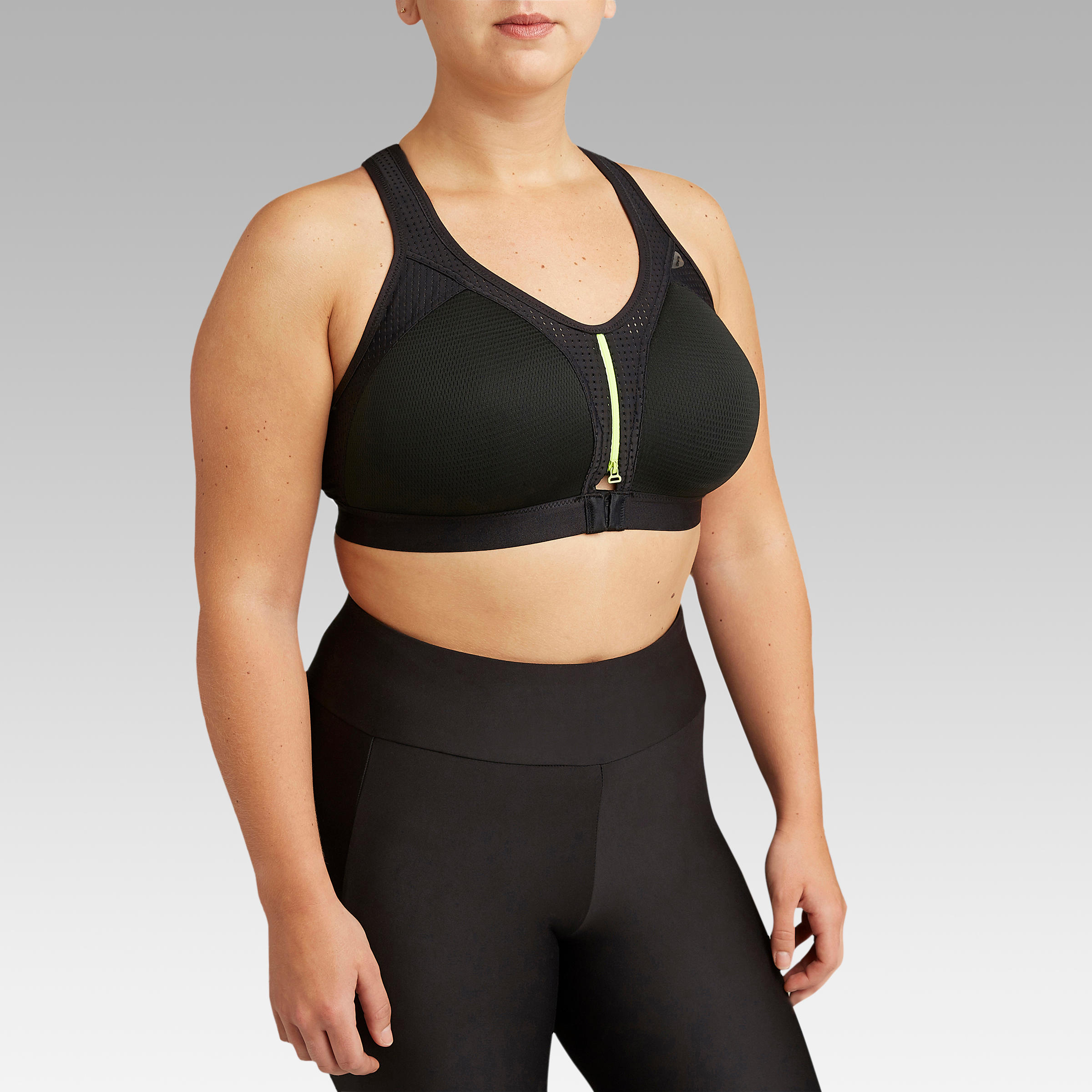LARGE-SIZED RUNNING BRA WITH ZIP - BLACK