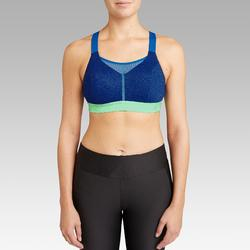 Top Sujetador Running Kalenji Ajustable Mujer Azul/Verde