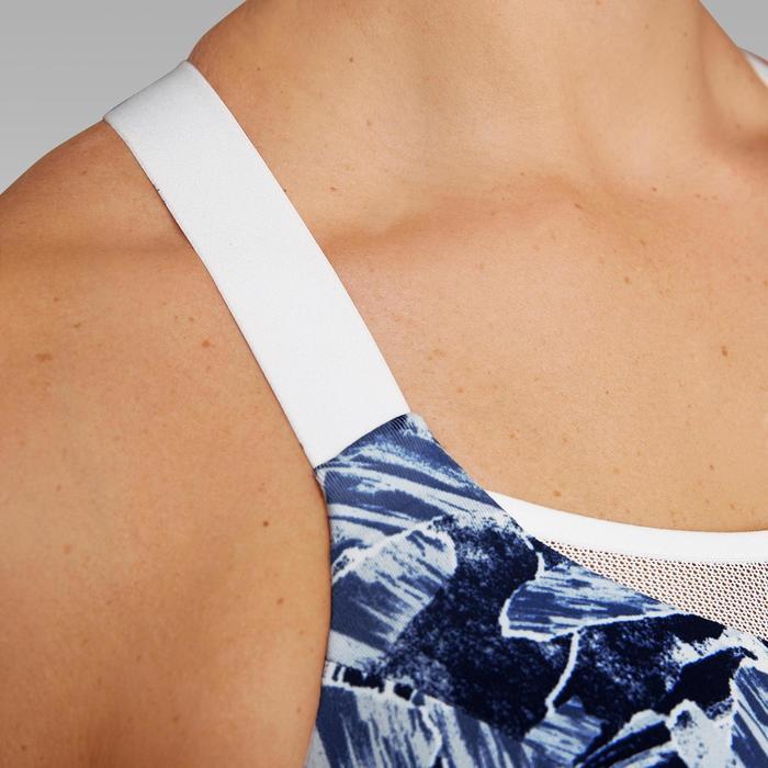 Verstelbare hardloopbeha met pads blauw camouflage witte bandjes