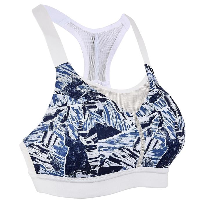 可調式罩杯運動內衣 KALENJI 迷彩藍 白色肩帶