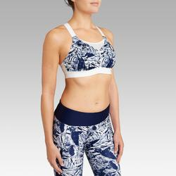 BRASSIERE DE RUNNING AJUSTABLE COQUEE BLEU CAMOUFLAGE BRETELLES BLANCHES