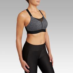 可調式 罩杯跑步內衣 KALENJI 雜灰色 黑色肩帶