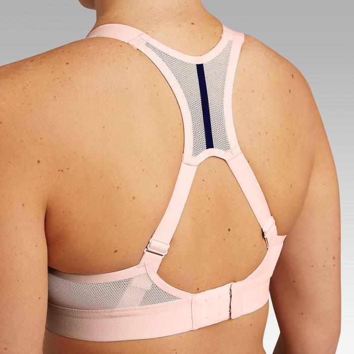 可調式罩杯跑步內衣迷彩粉藍色 粉色肩帶