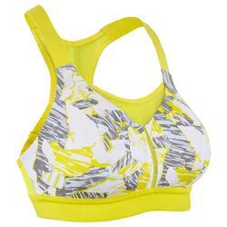 Top Sujetador Running Kalenji Ajustable Mujer Amarillo/Gris/Blanco Estampado