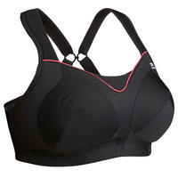 RUNNING BRA LARGE SIZE BLACK WITH PINK CORAL DETAIL