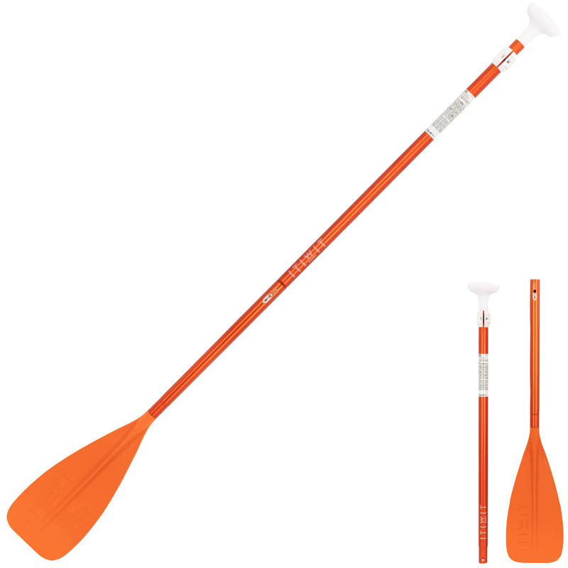 PAGAIE DE STAND UP PADDLE 100 DEMONTABLE REGLABLE 170-220 CM ORANGE