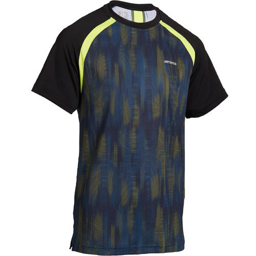 T SHIRT TENNIS JUNIOR 500 NOIR JAUNE