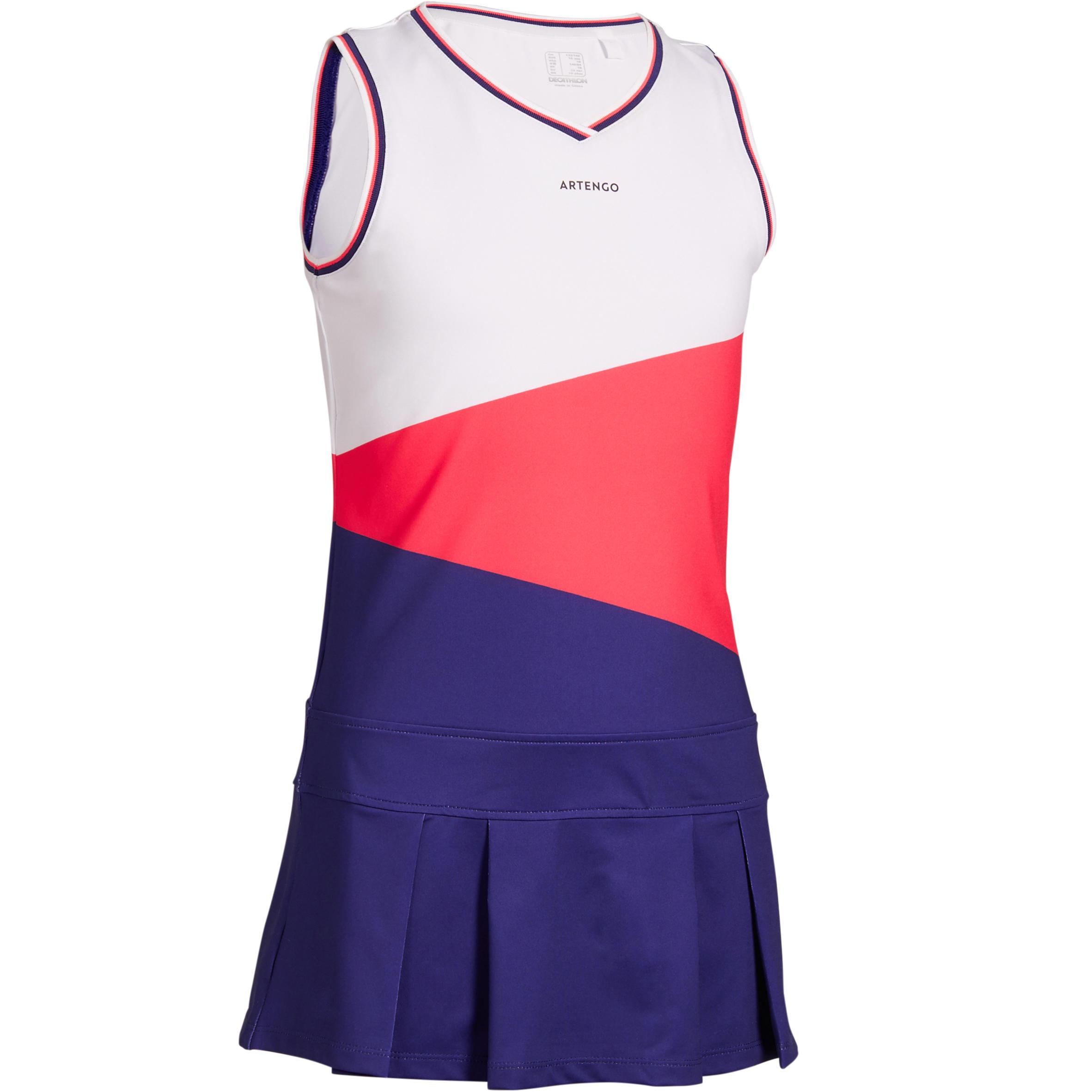 Artengo Tennisjurkje meisjes 500 wit/roze/blauw