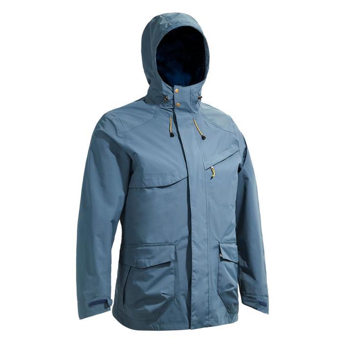 男款郊野健行防水外套Protect NH500-灰色/藍色