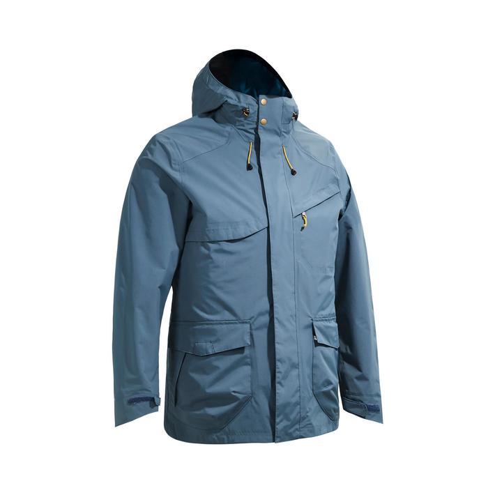 Regenjacke NH500 Protect Herren grau/blau für Naturwanderungen