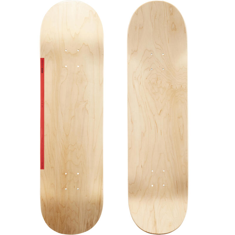 "Skateboard deck 100 maat 8.5"" houtkleur en rood"
