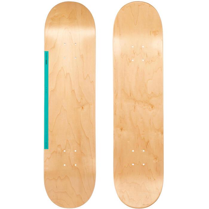"""Planche de skate DECK 100 taille 7.75"""" couleur bois et vert."""