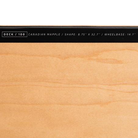 "8.75"" Skateboard Deck 100 - Wood/Black"