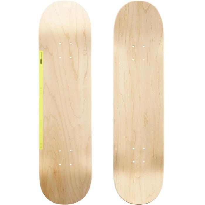 """Planche de skate DECK 100 taille 8"""" couleur bois et jaune."""