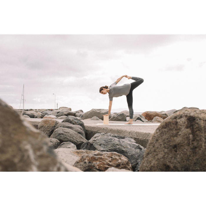 T-Shirt Yoga nahtlos Damen grau meliert