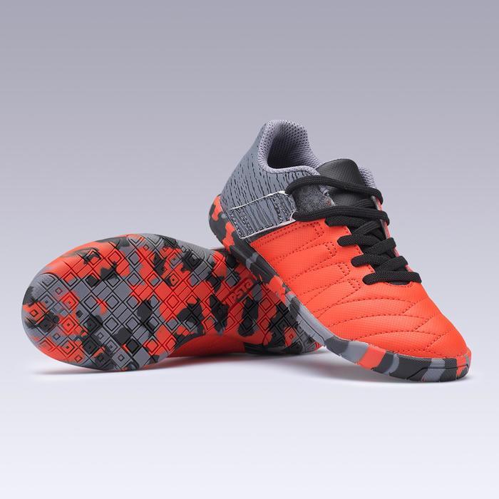 Zapatillas de fútbol sala júnior CLR 500 tira autoadherente rojo