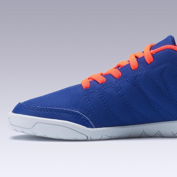 Zapatillas de fútbol sala júnior CLR 500 con tira autoadherente azul naranja