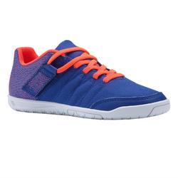 Zaalvoetbalschoenen voor kinderen CLR 500 met klittenband blauw/oranje
