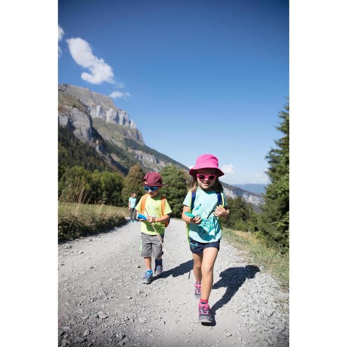 Lage bergwandelschoenen met klittenband voor meisjes Crossrock blauw/roze