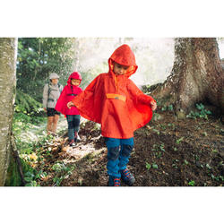 Kids' waterproof hiking poncho - MH100 - red