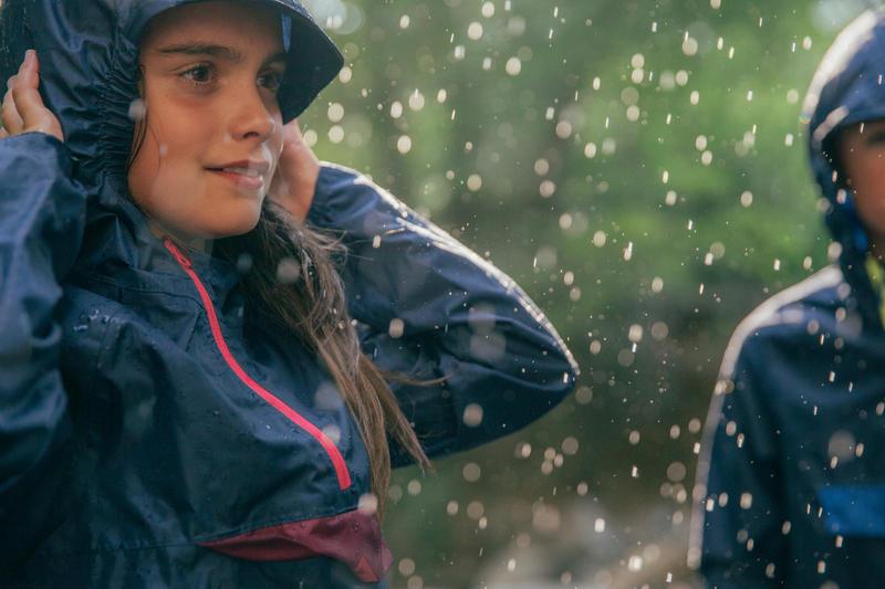 Kid's Raincoat MH100 - Navy Blue/Pink