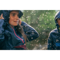 Kinder regenjas voor wandelen MH100 marineblauw en roze