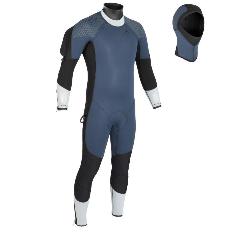 Vyriškas 7 mm naro kostiumas SCD500 nardyti šaltame vandenyje