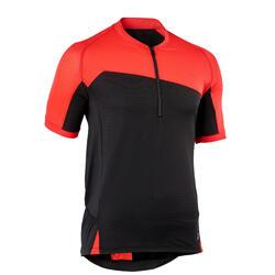 Mountainbikeshirt met korte mouwen voor heren ST 500 zwart/rood