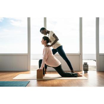 Damesbroek in biokatoen voor zachte yoga grijs / roze