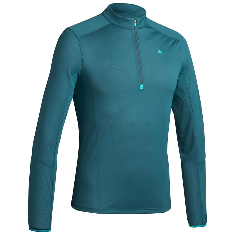 MH550 Men's Long-Sleeved Mountain 1/2-Zip Walking T-Shirt - Blue green