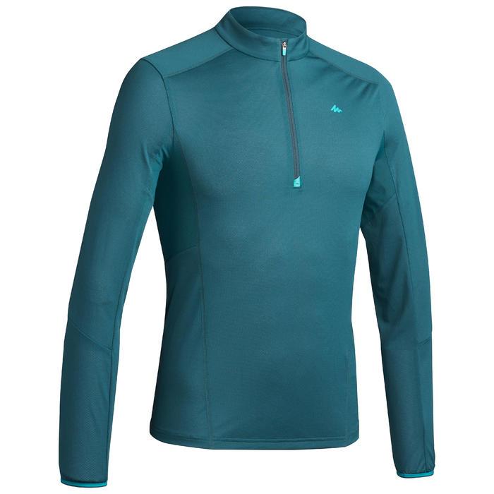 Camiseta de senderismo montaña MH550 manga larga 1/2 cremallera hombre Azul