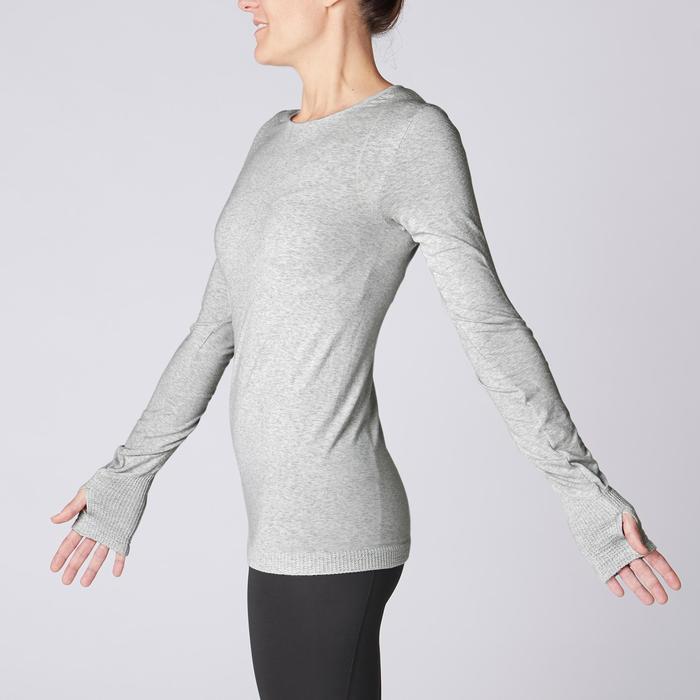 Langarmshirt nahtlos für sanftes Yoga Damen hellgrau