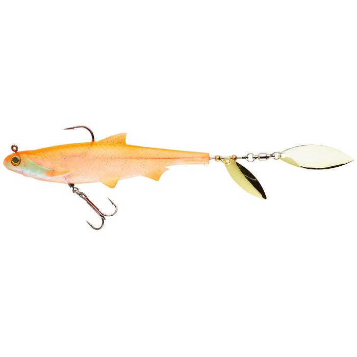 Gummiköder Shad mit Spinnerblättern Roachspin 120 orange Spinnfischen