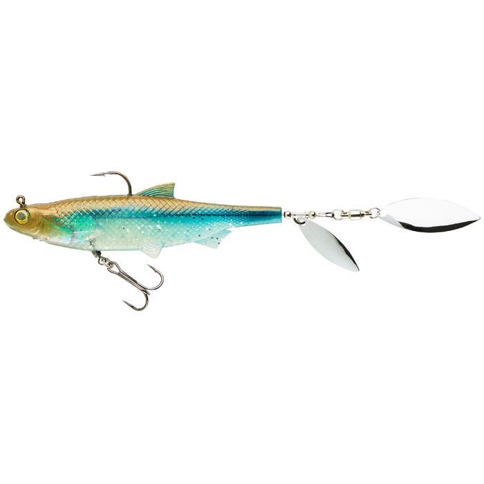 Softbait shad met bledjes voor kunstaasvissen Roachspin 120 blauwe rug