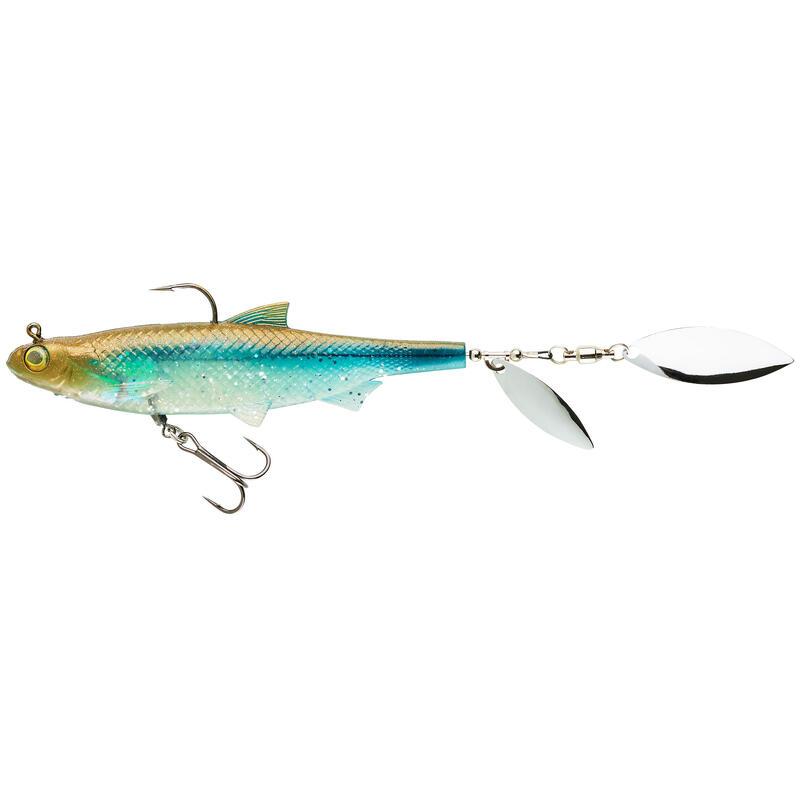 Nălucă flexibilă SHAD cu paletă pescuit cu năluci ROACHSPIN 120 spate albastru