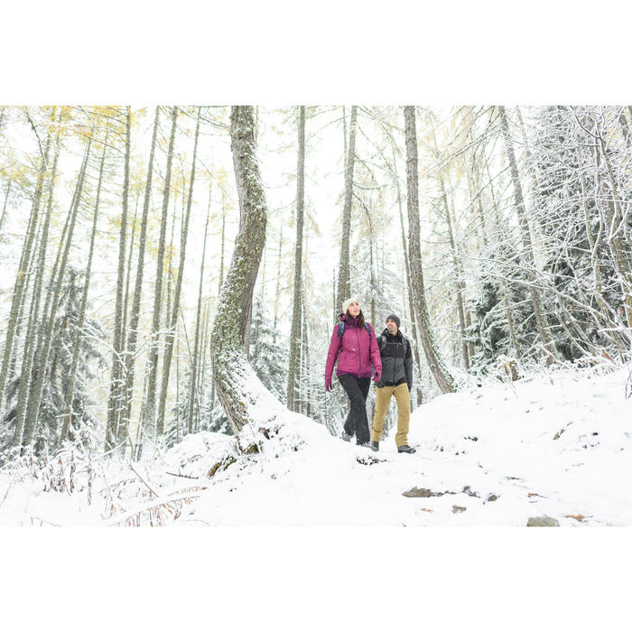 Warme waterdichte wandeljas voor de sneeuw dames SH100 X-warm zwart