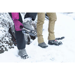 Women's Warm Mid Snow Hiking Shoes SH100 - Khaki