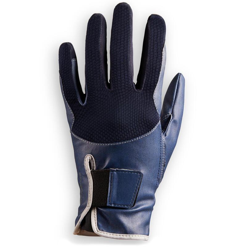 Gants d'équitation respirant avec velcro Enfant - 560 marine/bleu