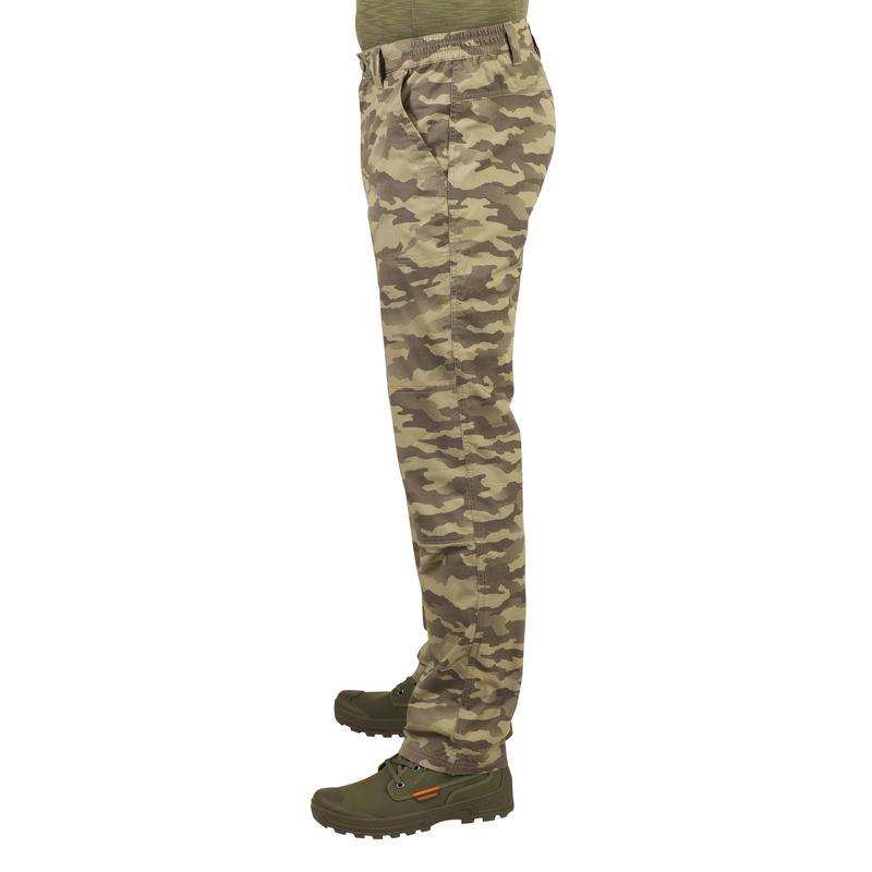 Pantalón de Caza Ligero 100 Camuflaje Island Verde