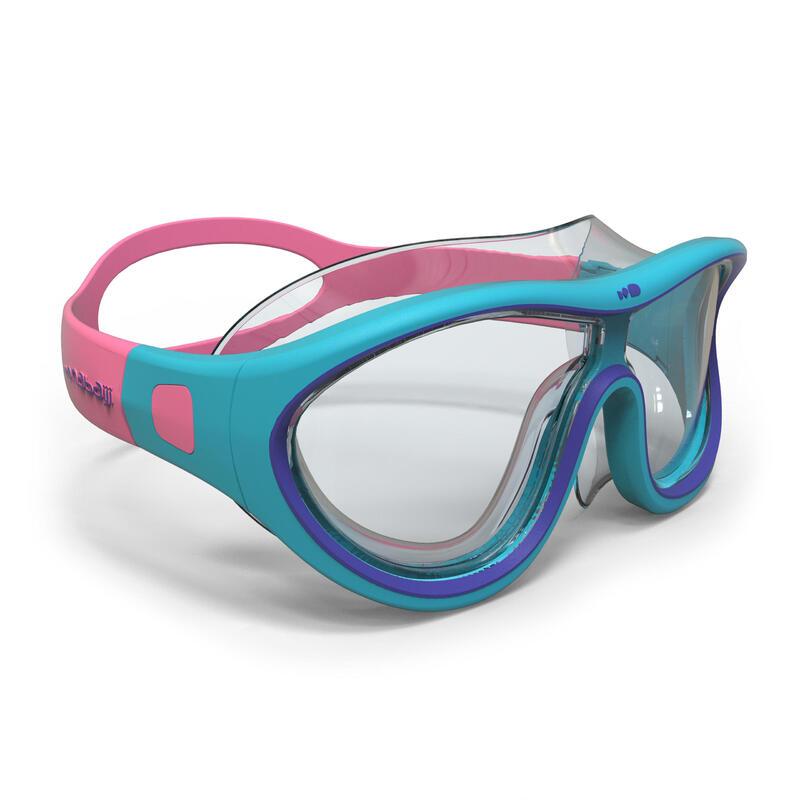Maschera nuoto viso piccolo 100 SWIMDOW azzurro-rosa