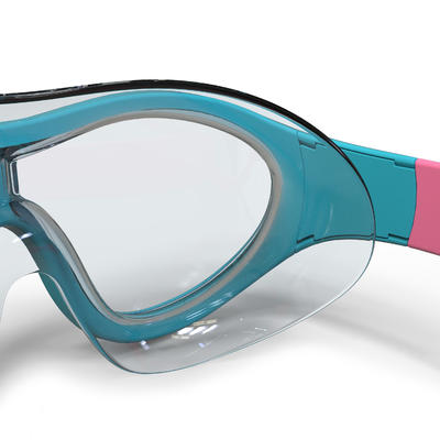 SWIMMING POOL MASK SWIMDOW SIZE S CLEAR LENSES - BLUE PINK