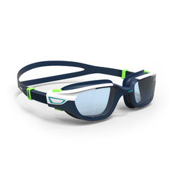 泳鏡500 SPIRIT,L號 - 藍綠撞色,透明鏡片