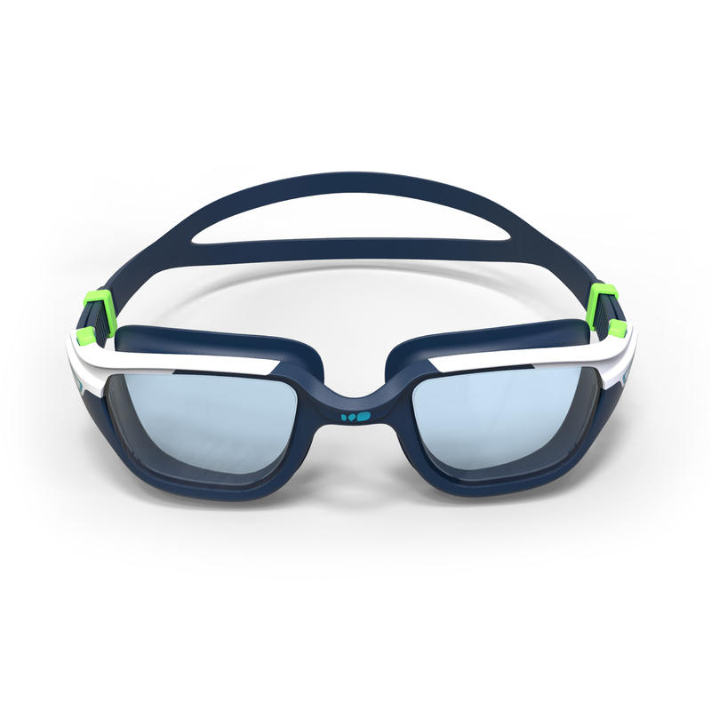 SWIMMING GOGGLES 500 SPIRIT SIZE L BLUE GREEN CLEAR LENSES