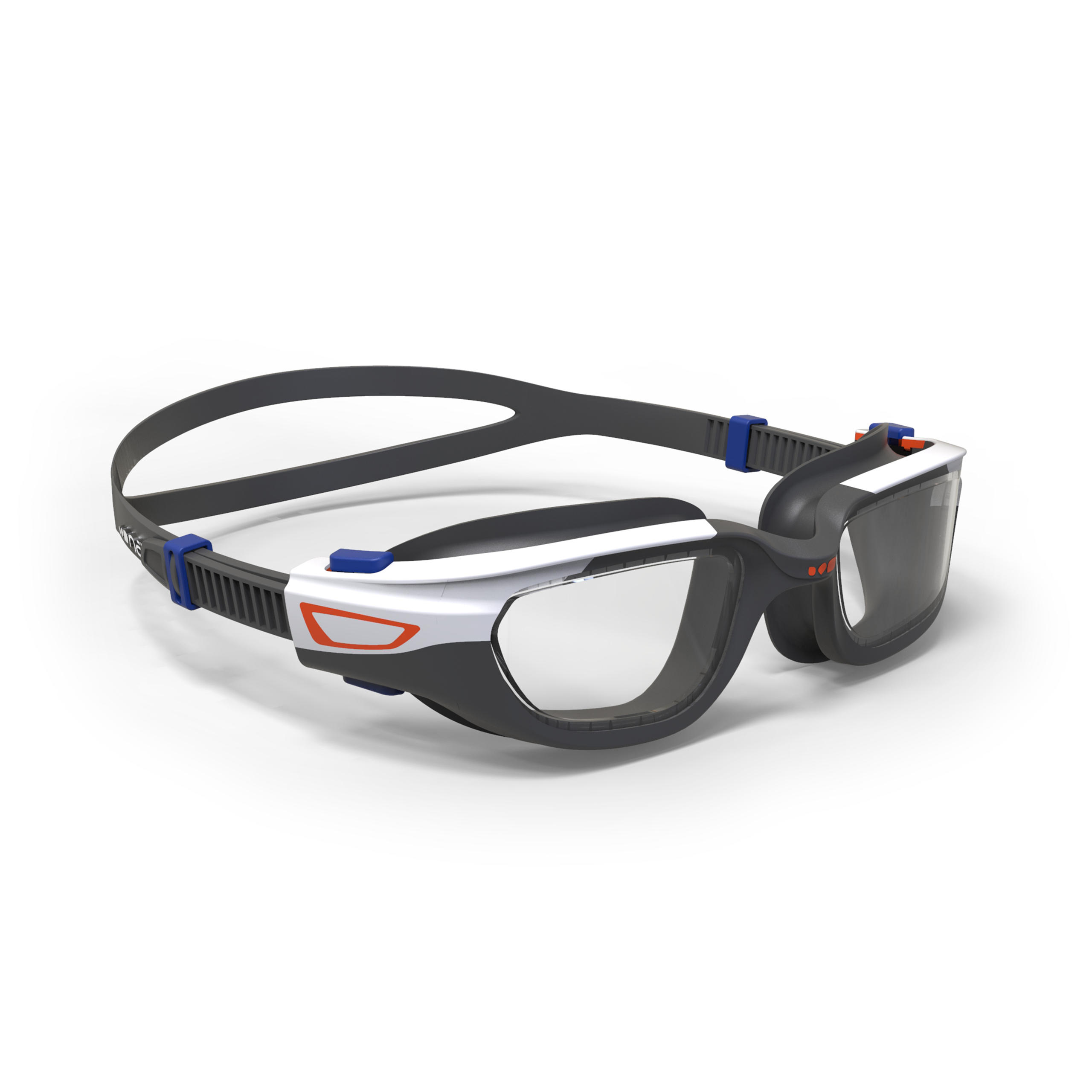 Gafas de natación 500 SPIRIT Talla S Naranja Azul cristales claros