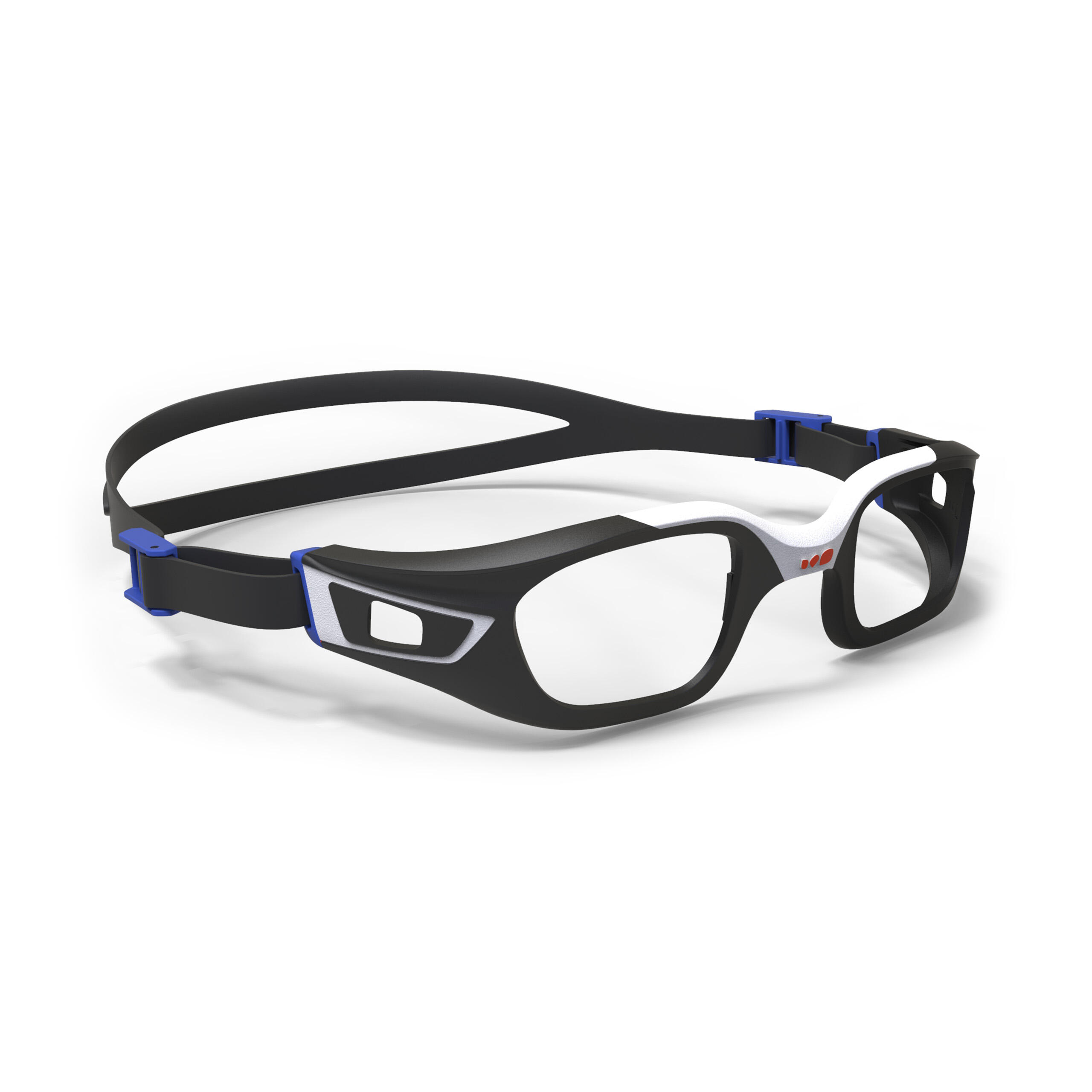 Zwembril op sterkte (montuur) selfit maat l wit/zwart